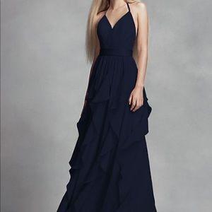 Gorgeous vera Wang white navy blue halter dress 12